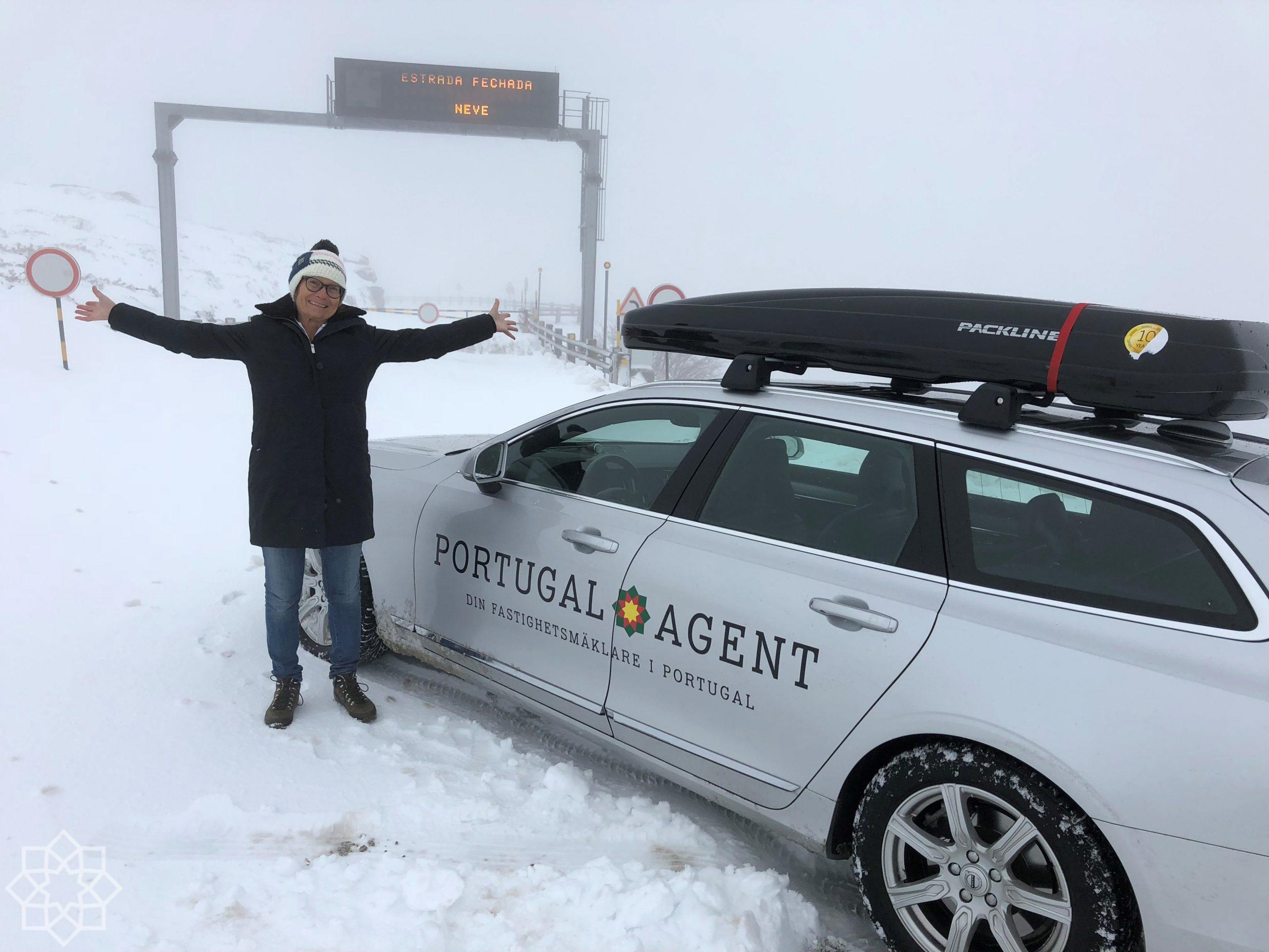 Serra da Estrela i Portugal: Stängt - för mycket snö!