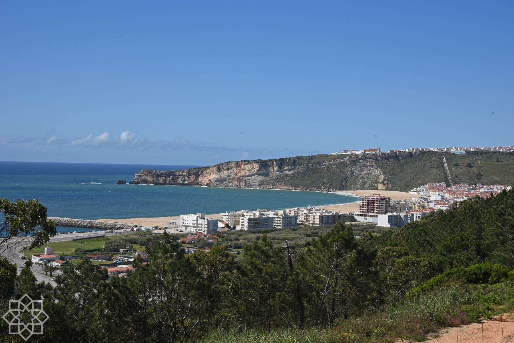 Nazaré city and the cliff with the funicular to Sítio