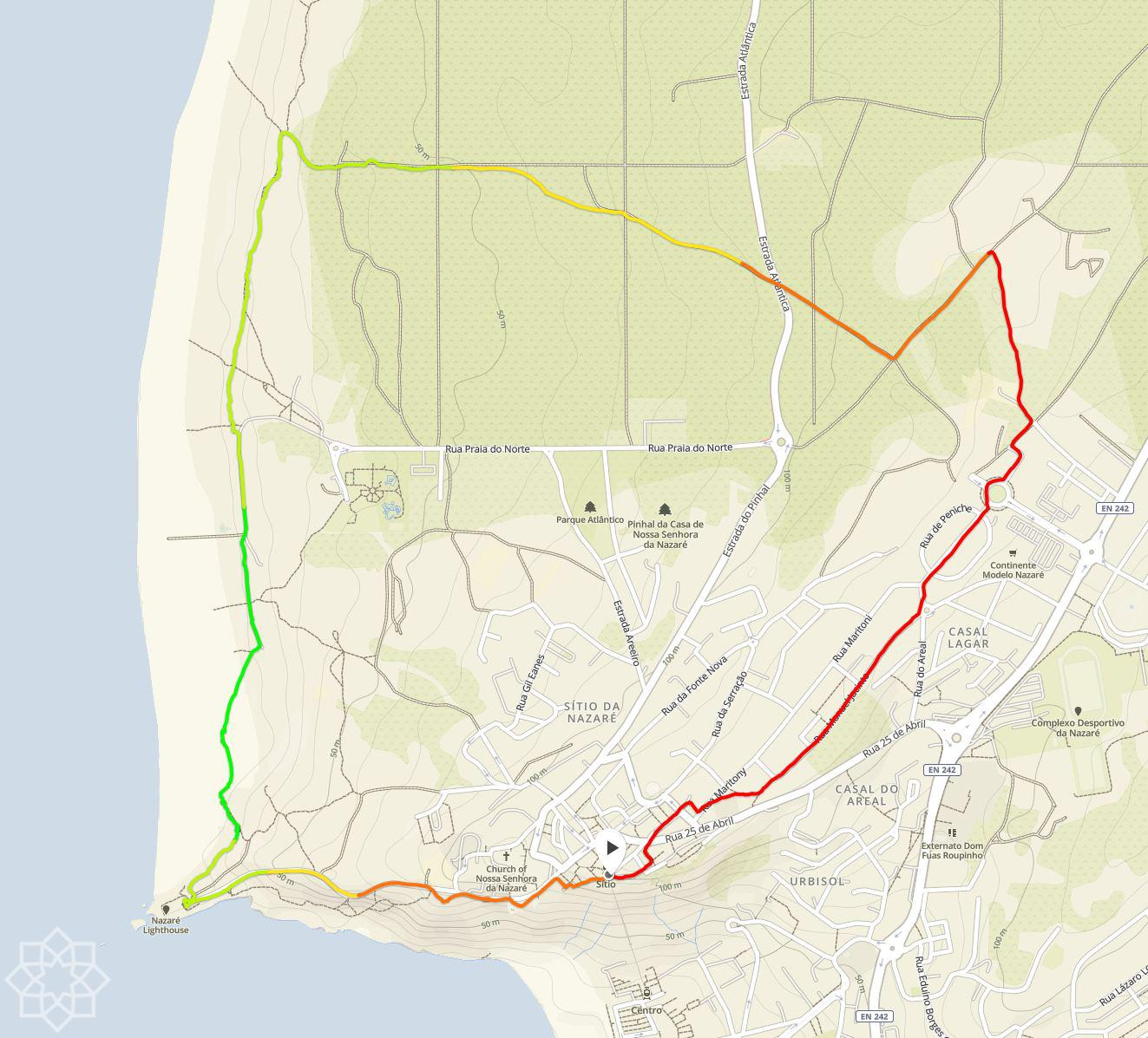 6,5 km Jogging and Hiking trail in Sítio da Nazaré Portugal. We go counter clockwise.