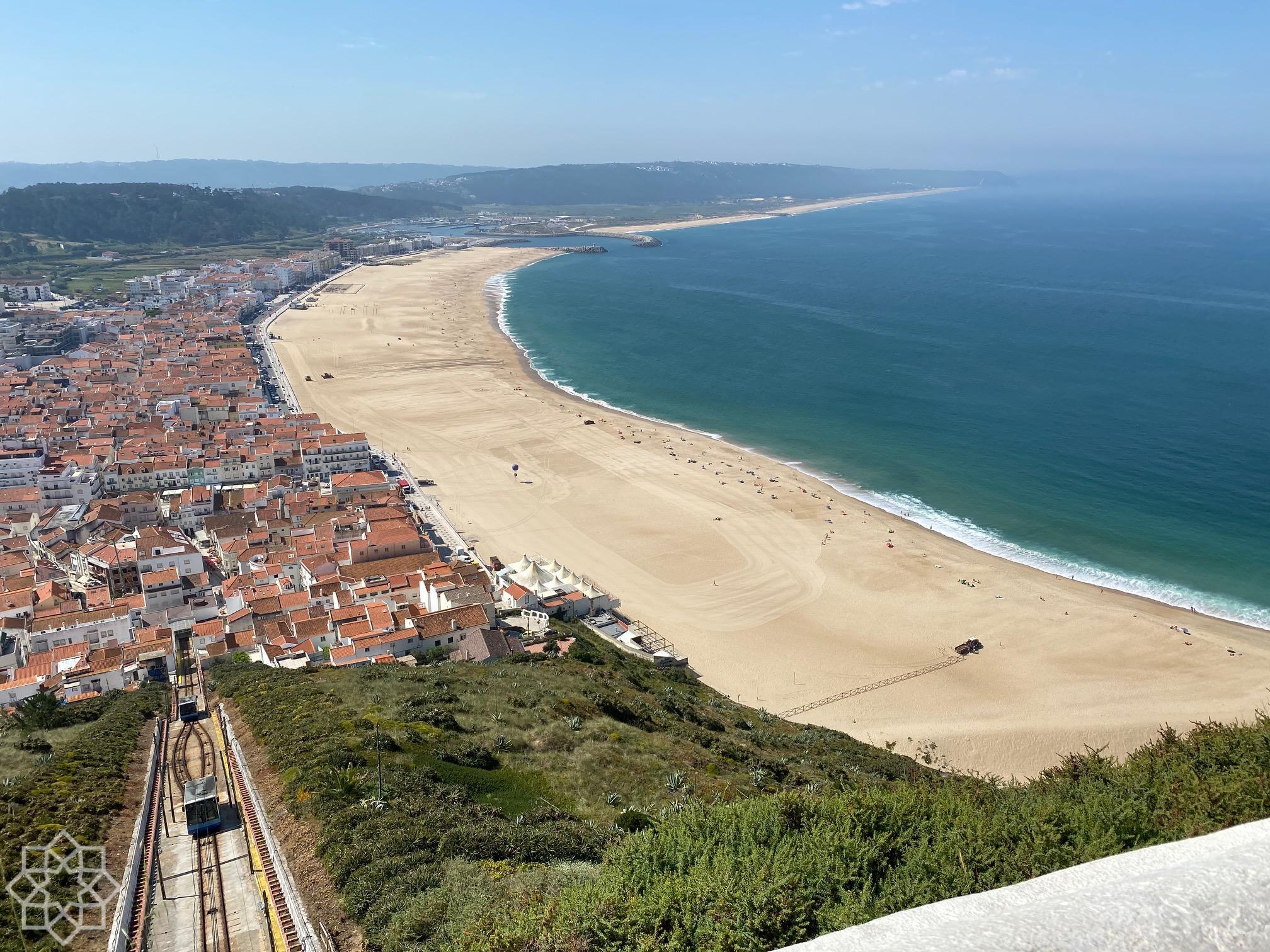 Nazaré beach and the funicular to Sítio May 29 2020