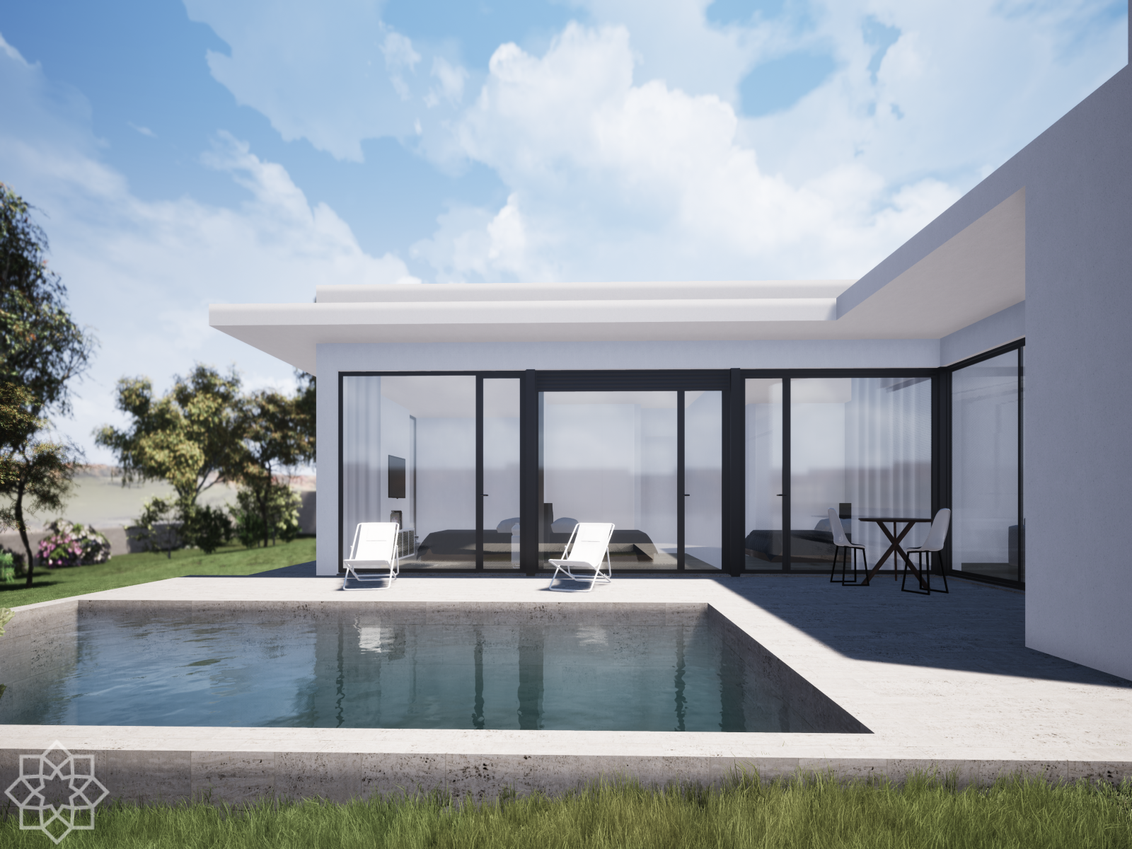 Modern architecture 3 bedroom villa with pool